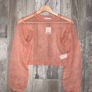 URBAN OUTFITTERS Cropped Knit Sweater SZ XS Peach